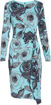 Gina Bacconi Turq Grey Floral Print Jersey Dress