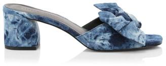 Rebecca Minkoff Rheta Bow Tie-Dye Denim Mules
