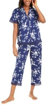 Charter Club Cotton Lace-Trim Printed Capri Pants Pajamas Set, Created for Macy's