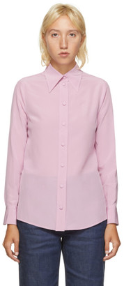 Gucci Pink Silk Crepe De Chine Silk Shirt