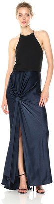 Halston Women's Sleeveless High Neck Satin Gown with Twist Drape Skirt