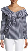 Kensie Asymmetric Ruffle-Front Button-Down Striped Blouse