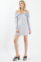 Topshop Bardot Stripe Shirtdress