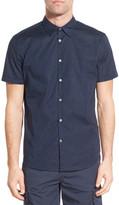 John Varvatos Trim Fit Micro Fleck Print Short Sleeve Sport Shirt