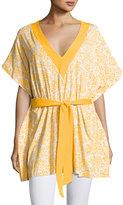 MICHAEL Michael Kors V-Neck Floral-Printed Tunic, Yellow/Multi