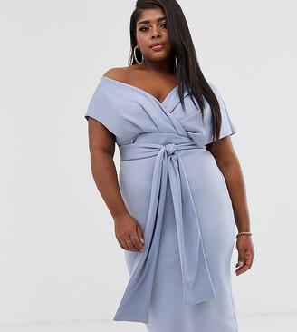 Asos DESIGN Curve fallen shoulder midi pencil dress with tie detail-Blue