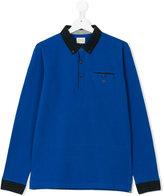 Armani Junior teen long-sleeved polo - kids - Cotton/Spandex/Elastane - 14 yrs