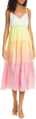 CAMI NYC The Adrienne Rainbow Tiered Silk Midi Dress