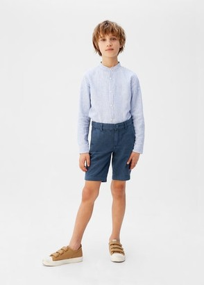 MANGO Linen-cotton blend Bermuda short blue - 5 - Kids