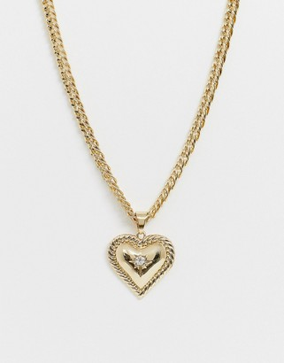 Liars & Lovers gold chunky chain necklace with heart statement pendant