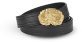 Leather Belt With Burberry Crest