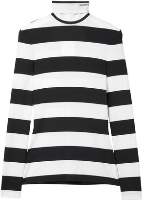 Calvin Klein Striped Stretch-jersey Turtleneck Top