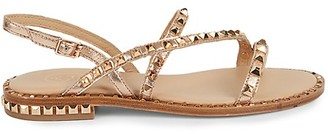 Ash Peace Studded Metallic-Leather Flat Sandals