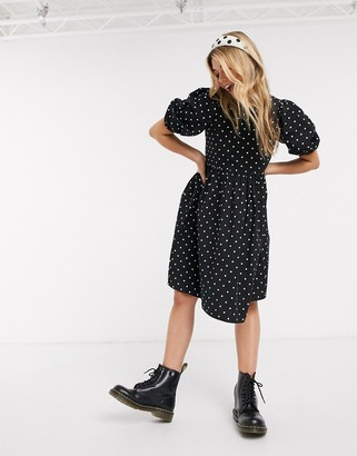 Monki Melody cotton poplin polka dot smock dress in black