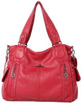 Angelkiss 2 Top Zippers Multi Pockets Women Handbags/Washed Leather Purses/Shoulder Bags 1193