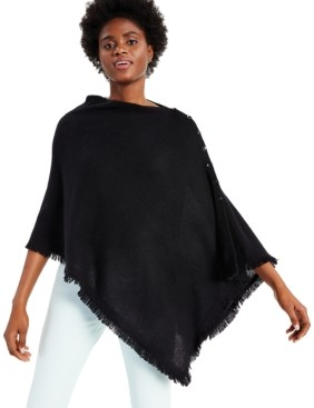 Charter Club Cashmere Solid Fringe Poncho Sweater, Created for Macy's