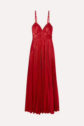 Marchesa Crocheted Lace-trimmed Pleated Lamé Gown - Red