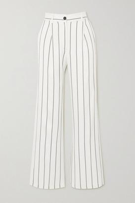 Anine Bing Ryan Striped Herringbone-jacquard Straight-leg Pants - Off-white