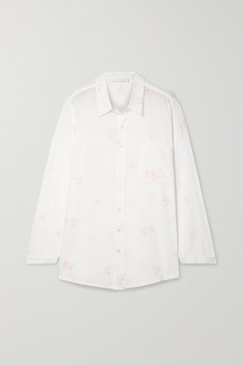 POUR LES FEMMES Printed Cotton-voile Pajama Shirt - White