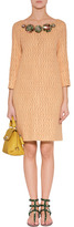 Moschino Peach Textural Woven Embellished Dress