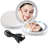 TOUCHBeauty Rechargeable LED Makeup Mirror with Double-sided 1x/2x Magnification AS-1275