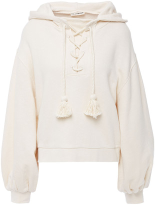 Ulla Johnson Marlie Lace-up Tassel-trimmed French Cotton-terry Hoodie