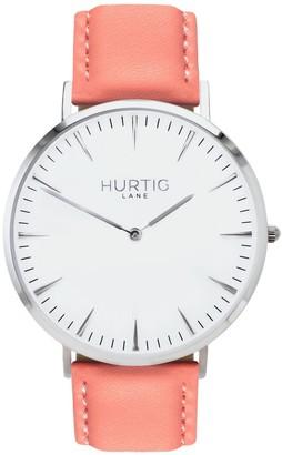 Hurtig Lane Mykonos Vegan Leather Watch Silver/White/Coral