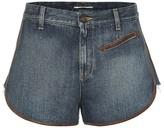 Saint Laurent Leather-trimmed denim shorts