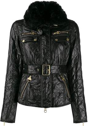 Barbour quilted belted biker jacket