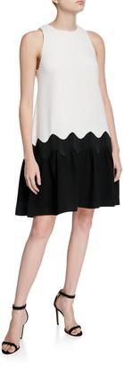 Lela Rose Wave Sleeveless Flounce-Hem Dress