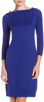 Neiman Marcus Silk-Cashmere Sweater Dress, Ascot Blue