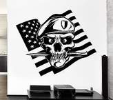 Wallstickers4you Large Wall Decal American Flag Skull Soldier Death War Knife Vinyl Stickers (ed146)