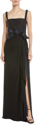 Atelier Caito For Herve Pierre Square-Neck Two-Tone Crepe Tie-Waist Gown