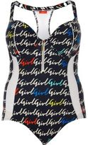 River Island Womens Plus navy blue mesh girl print swimsuit