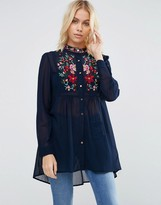 Brave Soul Longline Shirt With Embroidered Detail
