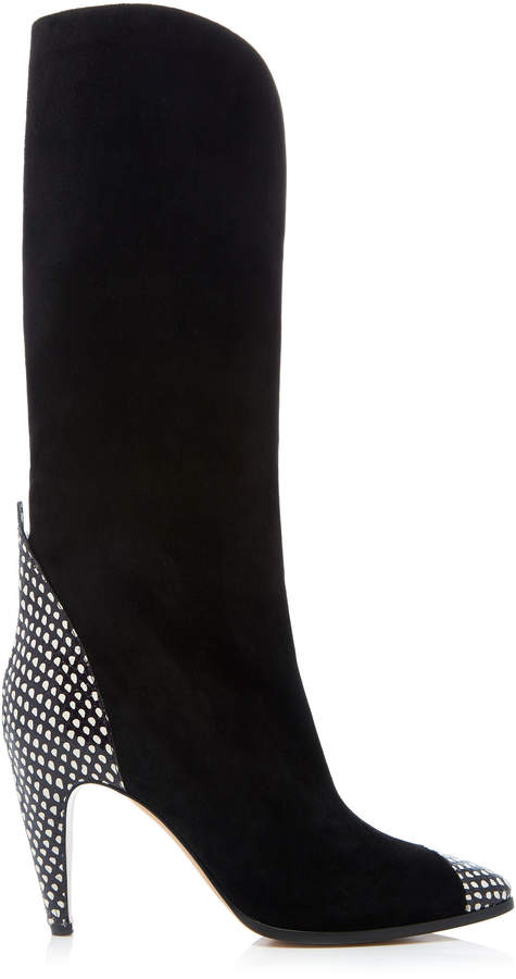 Givenchy Suede and Snake-effect Leather Boot