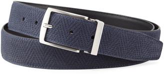 Giorgio Armani Men's Reversible Chevron Suede/Leather Belt