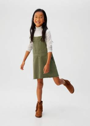 MANGO Pocket denim pinafore dress khaki - 5 - Kids