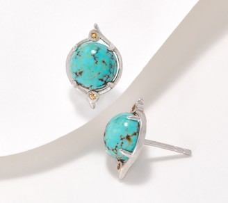 Generation Gems Round Gemstone Cabochon Sterling Silver Stud Earrings