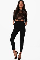 boohoo Boutique Taylor Crop & Trouser Co-ord Set black