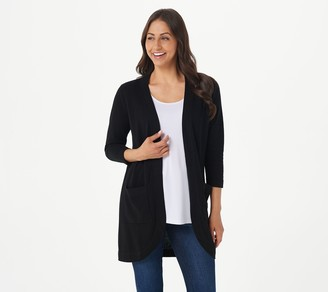 Isaac Mizrahi Live! Curved Open Front Cardigan with Pockets