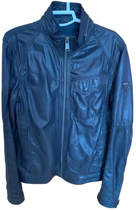 GUESS Navy Leather Jackets