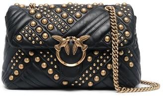 Pinko Love Classic Puff Woven Studs Black Crossbody Bag