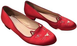 Charlotte Olympia Kitty Red Cloth Ballet flats