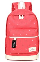 Tibes Large Canvas School Backpack Wave Dot Backpack for Women