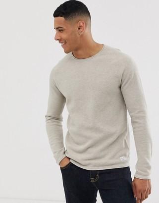 Jack and Jones Essentials raglan sleeve knitted crew neck jumper-Beige