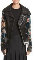 Junya Watanabe Women's Faux Leather Moto Jacket With Floral Sleeves
