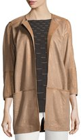 Lafayette 148 New York Maureen Perforated-Leather Jacket, Bronze