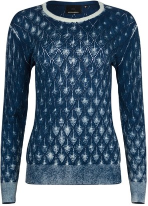 Ny Charisma Blue Cotton Hand Print Diamond Pattern Pullover