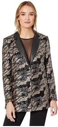 BCBGMAXAZRIA Camo Sequin Blazer (Gunmetal Combo) Women's Clothing